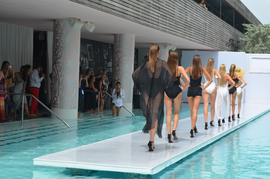 sls hotel south beach, gottex swim, gottex runway show, sls hotel pool parties